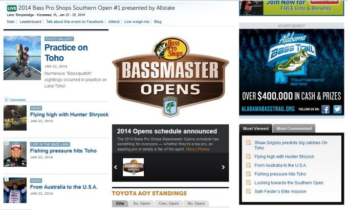 Carl front page Bassmaster