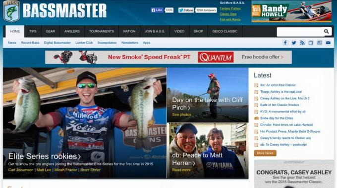 Front page Bassmaster March 2015