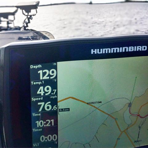 Quick speed check on the new boat 124km