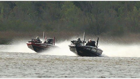 Myself and Britt Myers in hot pursuit making the 200 mile run down to the Cooper River on day one in our Basscat Boats