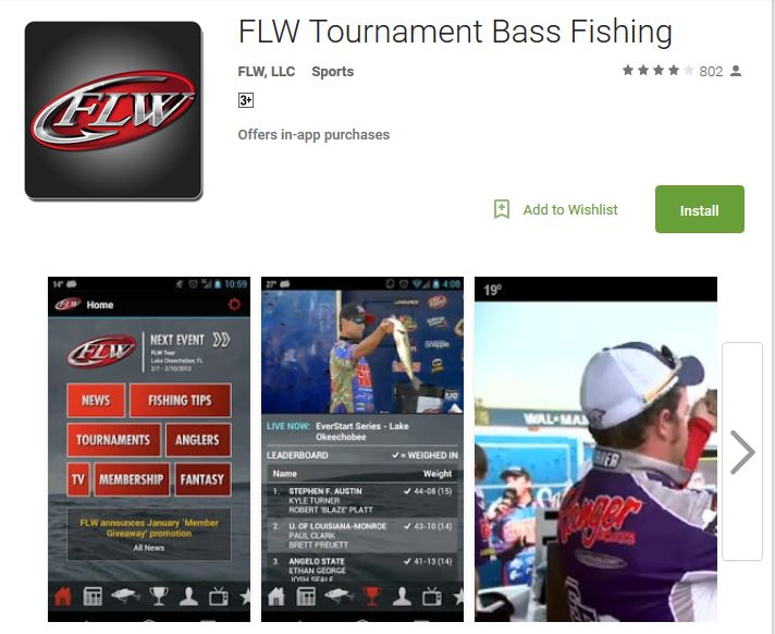 Flw fishing tour app carl jocumsen for Fishing tournament app